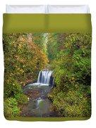 Hidden Falls In Autumn Duvet Cover