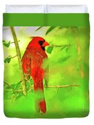 Hiding Behind The Leaves - Male Cardinal Art Duvet Cover