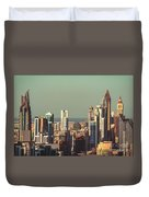 High-angle View Of Dubai's Towers At Sunset.  Duvet Cover