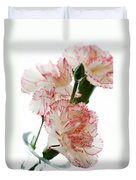 High Key Pink And White Carnation Floral  Duvet Cover