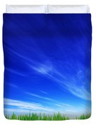 High Resolution Image Of Fresh Green Grass And Blue Sky Duvet Cover
