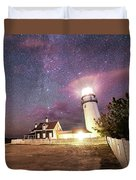 Highland Light Truro Massachusetts Cape Cod Starry Sky Shadow Yard Duvet Cover