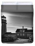 Highland Lighthouse Bw Duvet Cover