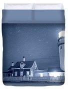 Highland Lighthouse Truro Ma Cape Cod Monochrome Blue Nights Duvet Cover