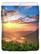 Highlands Sunrise - Whitesides Mountain In Highlands Nc Duvet Cover