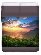 Highlands Sunrise - Whitesides Mountain In Highlands Nc Duvet Cover by Dave Allen