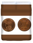 Highly Graded American Indian Head Cents On White Background  Duvet Cover