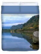 Highway Light Trails On Columbia River Gorge Duvet Cover
