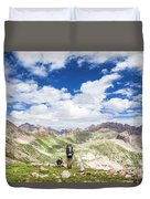 Hiker And Dog Duvet Cover
