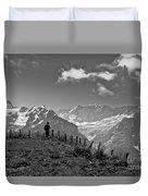 Hiker In The Alps Duvet Cover