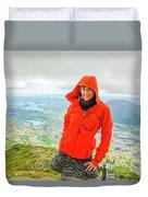 Hiker Woman In Norway Duvet Cover