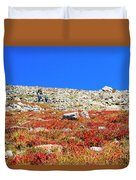 Hikers And Autumn Tundra On Mount Yale Colorado Duvet Cover