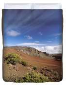 Hikers Inside Haleakala  Duvet Cover