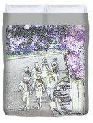 Hiking Down The Street I  Painterly Glowing Edges Invert  Duvet Cover