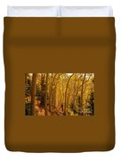 Hiking In Fall Aspens Duvet Cover