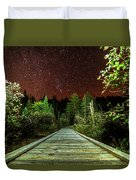 Hiking Into The Night Adirondack Log Keene Valley Ny New York Duvet Cover