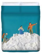 Hiking On Flour Snow Mountain Duvet Cover by Paul Ge