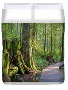 Hiking Trail Through Forest In Lynn Canyon Park Duvet Cover