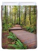 Hiking Trail Wood Walkway In Lynn Canyon Park Duvet Cover