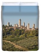 Hill Town Of San Gimignano Duvet Cover