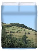 Hill With Haystack And Trees Landscape Duvet Cover