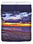 Hillsboro Beach Orange Sunset Hdr Duvet Cover