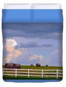 Hillside Hay Bales At Sunset Duvet Cover