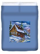 Hillsidebarn In Winter Duvet Cover