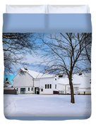 Hilltip Farm In Snow Duvet Cover