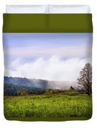 Hilltop Fog Sunrise Landscape Duvet Cover