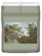 Hilly Landscape With A River And Figures In The Background Duvet Cover