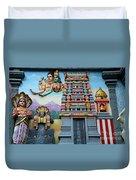 Hindu Deities On Wall Mural Of Sri Senpaga Vinayagar Tamil Temple Ceylon Rd Singapore Duvet Cover