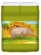 Hippo In The Savanna Duvet Cover