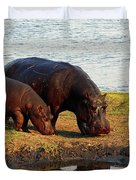 Hippo Mother And Child - Botswana Africa Duvet Cover