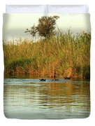 Hippos, South Africa Duvet Cover by Karen Zuk Rosenblatt