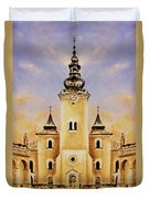 Historic Church And Town Square, Graphic Work From Painting. Duvet Cover