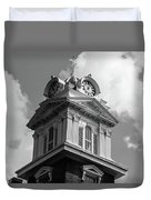 Historic Courthouse Steeple In Bw Duvet Cover by Doug Camara
