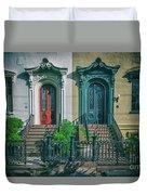 Historic Doors Of Charleston On Bull St Duvet Cover