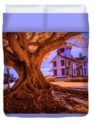 Historic Fermin Point Lighthouse In Infrared Duvet Cover