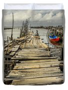 Historic Fishing Pier In Portugal I Duvet Cover