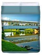 Historic Halls Mill Bridge Reflections Duvet Cover