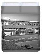 Historic Halls Mill Bridge Reflections Black And White Duvet Cover