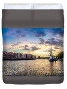 Historic Town Of Bremen With Weser River Duvet Cover