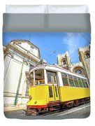 Historic Tram And Lisbon Cathedral Duvet Cover