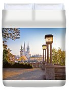 Historic Zagreb Towers Sunrise View Duvet Cover