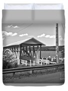 History At The Bend Black And White Duvet Cover