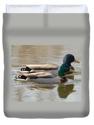 Two Mallards Swimming Quietly Duvet Cover