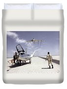 Hl-10 On Lakebed With B-52 Flyby Duvet Cover by Artistic Panda