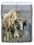 Hoarfrosted Bison In Yellowstone Duvet Cover
