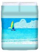 Hobie Sailing Off Lido Beach Coast Duvet Cover